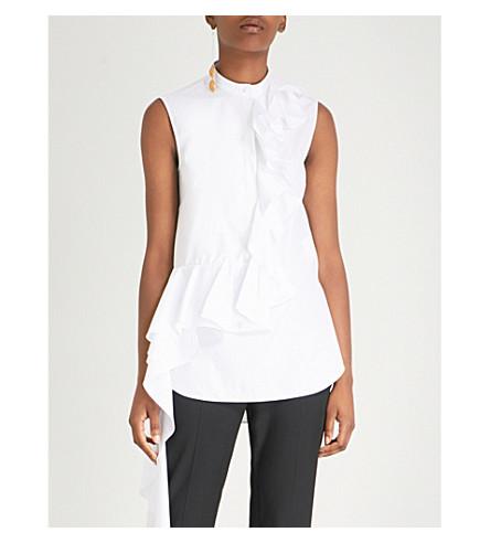 ALEXANDER MCQUEEN皱纹-细节棉府绸衬衫 (白色