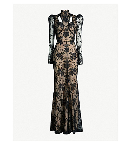 ALEXANDER MCQUEEN High-neck lace gown (Black