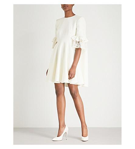 vestido Mini lana con ALEXANDER adornos marfil encaje mezcla MCQUEEN de en de qEWAT