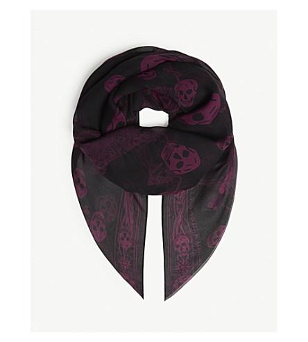 ALEXANDER MCQUEEN 奥菲利亚真丝围巾 (黑色/浅色 + 紫色