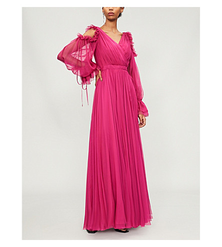 ALEXANDER MCQUEEN Cold-shoulder pleated silk gown (Deep+orchid