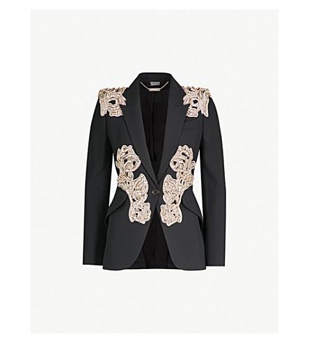 ALEXANDER MCQUEEN Embellished wool-blend jacket (Black