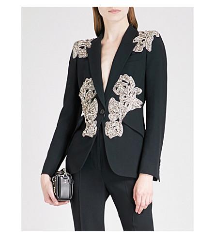 ALEXANDER jacket Black MCQUEEN MCQUEEN wool wool blend ALEXANDER blend Embellished Embellished 4wwdv7znq