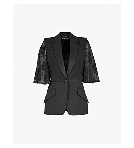ALEXANDER MCQUEEN 花边海角羊毛混纺和蕾丝夹克 (黑色
