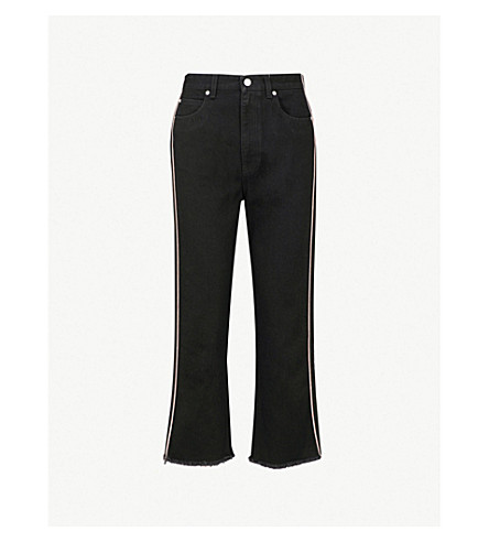 ALEXANDER MCQUEEN Contrast-piped straight high-rise jeans (Black
