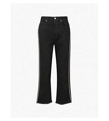ALEXANDER MCQUEEN 对比管道直高腰牛仔裤 (黑色