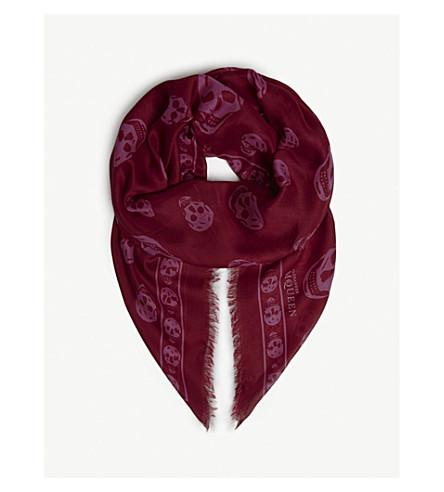 ALEXANDER MCQUEEN Butterfly and skull-print silk scarf (Violet/black