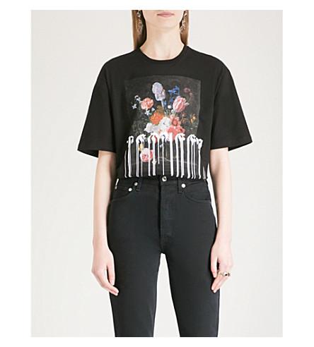 ALEXANDER MCQUEEN Painted cotton-jersey T-shirt (Black