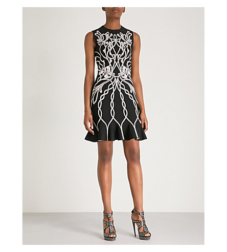 ALEXANDER MCQUEEN Floral-patterned knitted dress (Black/nymphe