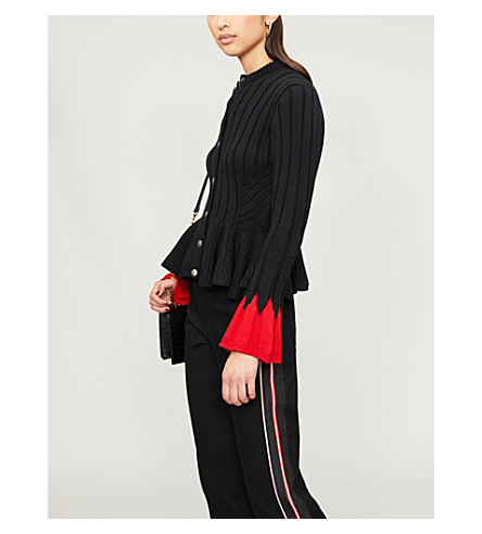 ALEXANDER MCQUEEN 竖起双音羊毛混纺开襟衫 (黑色/红色