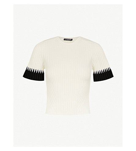 ALEXANDER MCQUEEN Contrast-cuff ribbed-knit T-shirt (Ivory/black