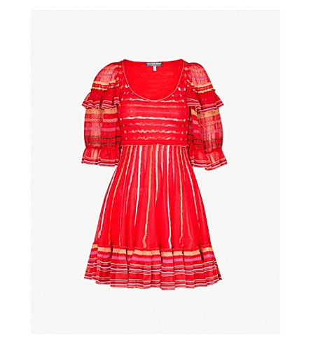 ALEXANDER MCQUEEN Metallic-embroidered fit-and-flare knitted mini dress (Red/multicolor