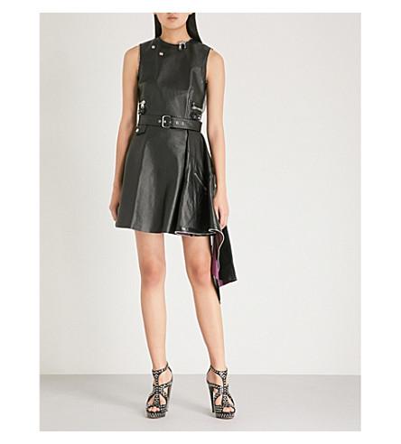 ALEXANDER MCQUEEN Peplum-hem leather mini dress (Black/nightshade