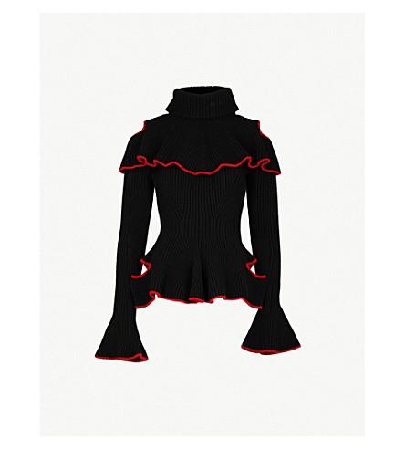 ALEXANDER MCQUEEN Cutout ruffled wool and cashmere-blend jumper (Black/red