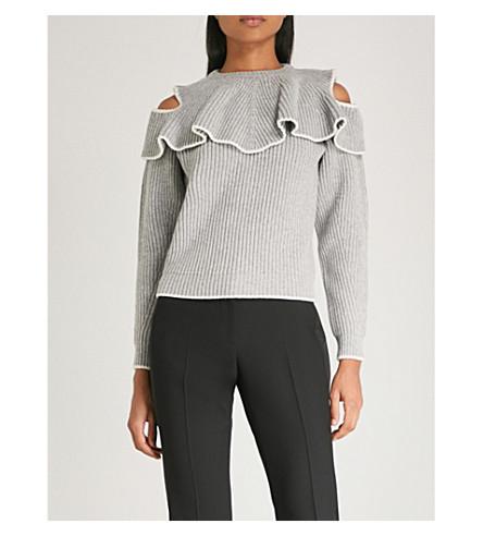 ALEXANDER MCQUEEN 竖起的羊毛和羊绒混纺毛衣 (灰 + 梅尔/象牙
