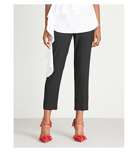 ALEXANDER MCQUEEN High-rise tapered crepe cropped trousers (Black