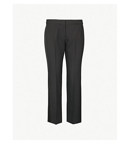 ALEXANDER MCQUEEN缎面高直羊毛混纺长裤 (黑色
