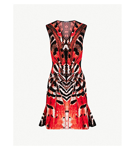 ALEXANDER MCQUEEN Butterfly jacquard mini dress (Red/orange/black