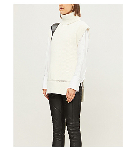 ALEXANDER MCQUEEN Laddered-trim wool and cashmere-blend jumper (Ivory