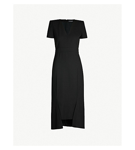 ALEXANDER MCQUEEN V-neck short sleeved crepe dress (Black
