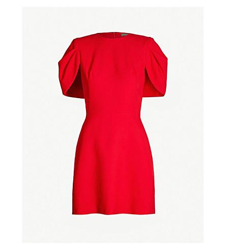 ALEXANDER MCQUEEN Cape-back wool-blend dress (Lust red