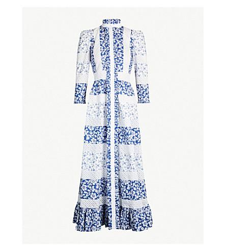 ALEXANDER MCQUEEN Contrast-floral pattern cotton-poplin dress (White/blue