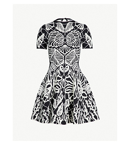 ALEXANDER MCQUEEN Shell-embroidered stretch-knit dress (Black/ivory