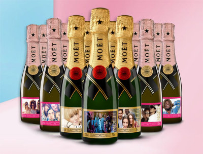Personalised Moët and Chandon bottles