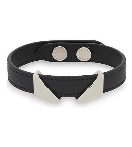 FENDI Monster eyes leather bracelet (Black