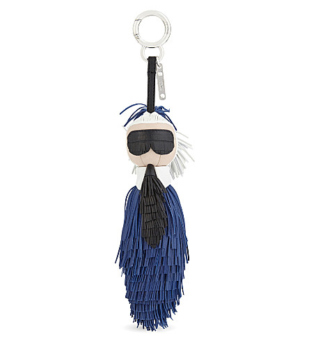 FENDI Mini Karlito nappa leather bag charm (Blue