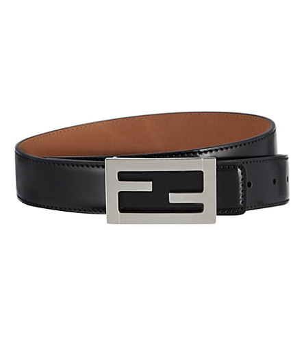 fendi logo leather belt selfridgescom