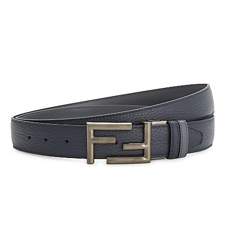 FENDI Reversible leather belt (Navy+grey