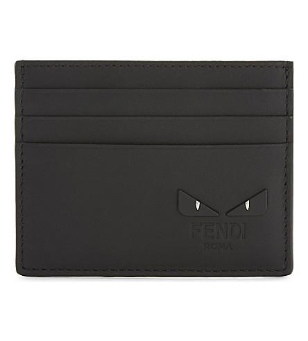 FENDI Monster leather card holder (Black