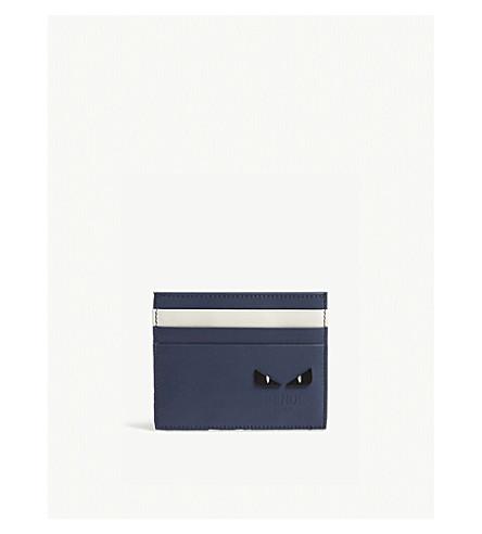 FENDI Monster eye leather card holder (Blue