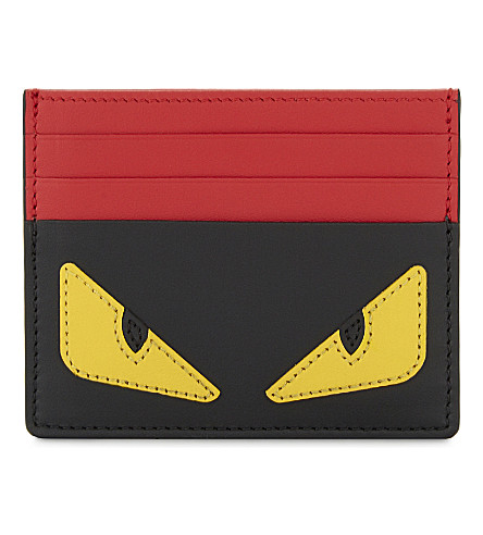 FENDI Monster leather card holder (Black
