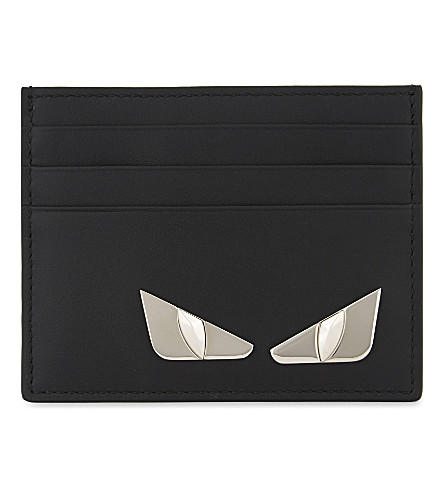 FENDI Monster eyes leather card holder (Black+silver+metal