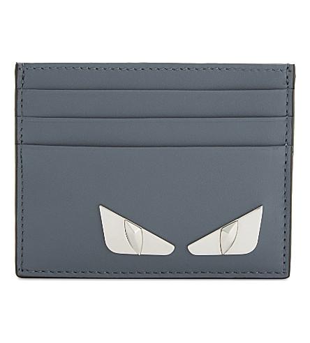 FENDI Monster eyes leather card holder (Storm+blue