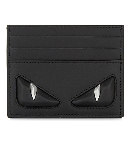 FENDI Monster eyes leather card holder (Black+black