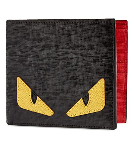 FENDI Monster leather wallet (Black+red