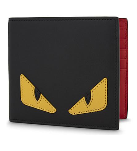FENDI Monster leather billfold wallet (Black