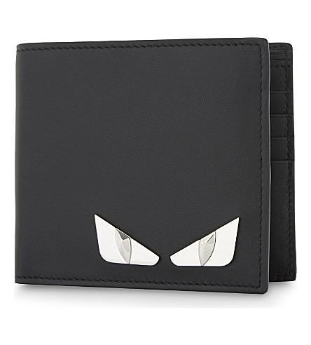 FENDI Monster Eyes leather billfold wallet (Black+silver+metal