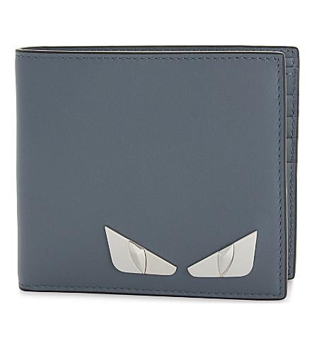 FENDI Monster Eyes leather billfold wallet (Storm+blue