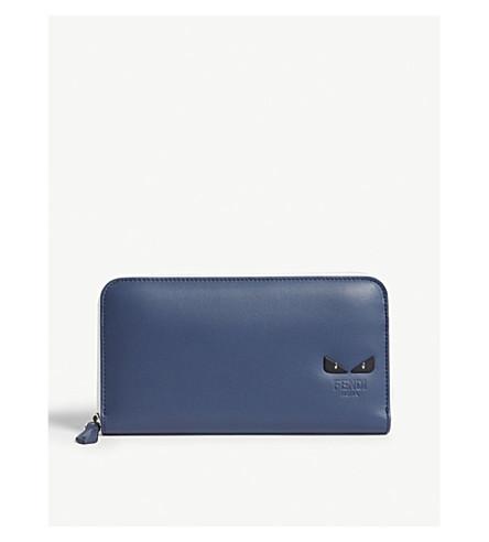 FENDI Monster eyes leather continental wallet (Blue