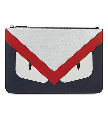 FENDI Monster leather pouch (Navy red silver