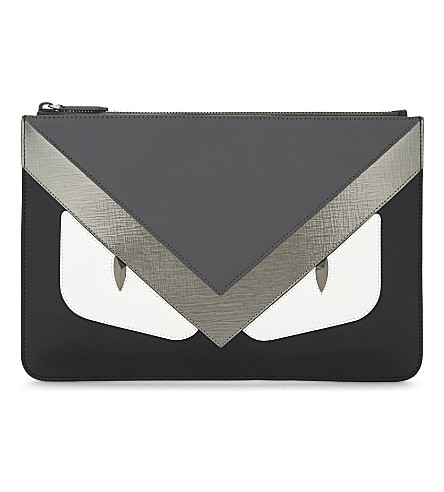 FENDI Monster eyes leather pouch (Grey+silver