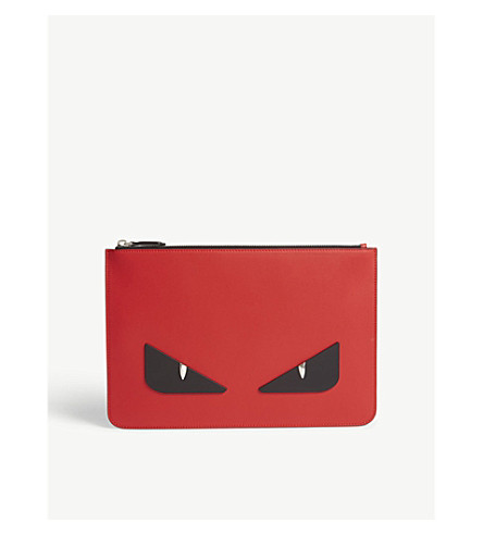 FENDI Monster leather pouch (Red/black