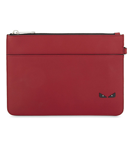 FENDI Micro monster leather pouch (Red