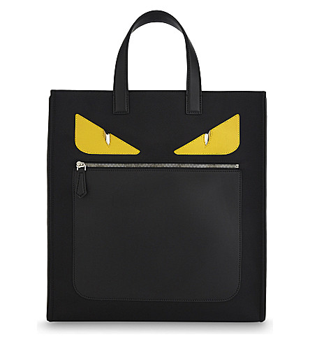 FENDI Monster nylon and leather tote (Black+red