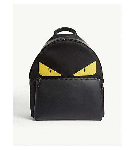 FENDI Monster leather and nylon backpack (Black