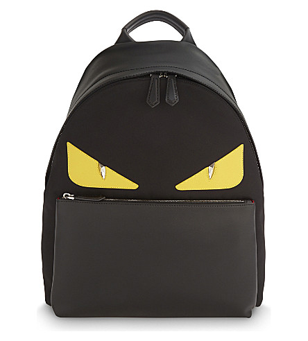 FENDI Monster leather backpack (Black red